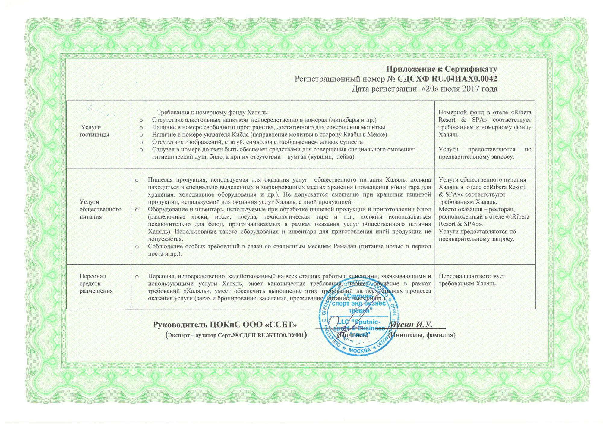 Приложение к сертификату Халяль Туризм Стандарт